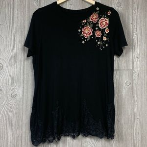 Torrid 00 Black Super Soft Knit Embroidered Floral